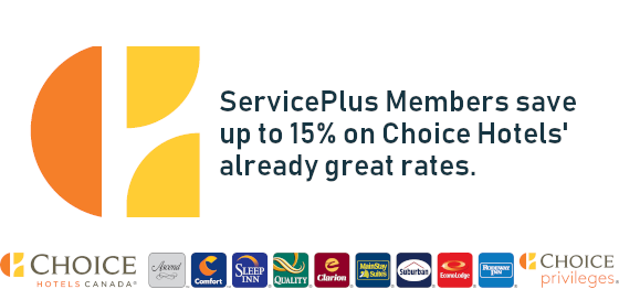 ServicePlus Members save  up to 15% on Choice Hotels' already great rates.