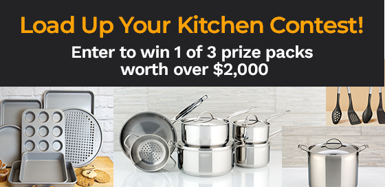 Enter to win one of three sets of kitchen essentials in the Load Up Your Kitchen contest