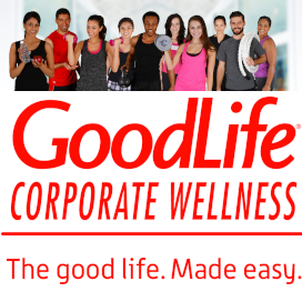 Good Life logo and a variety of people at the gym